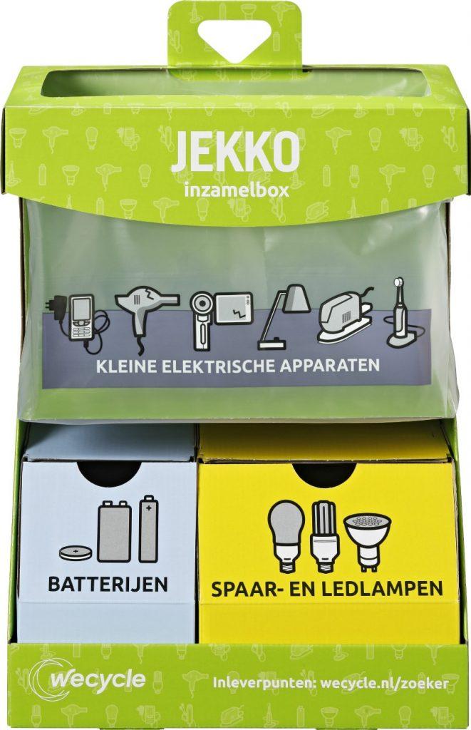 Handige inzamelbox voor apparaten, batterijen en lampen
