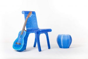 3d-geprinte stoel van plastic