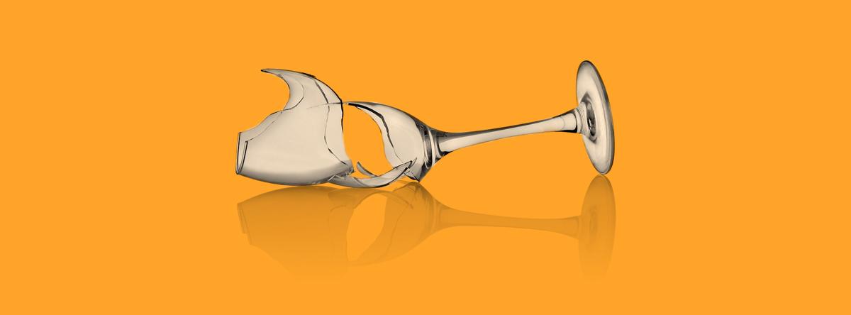 kapot wijnglas