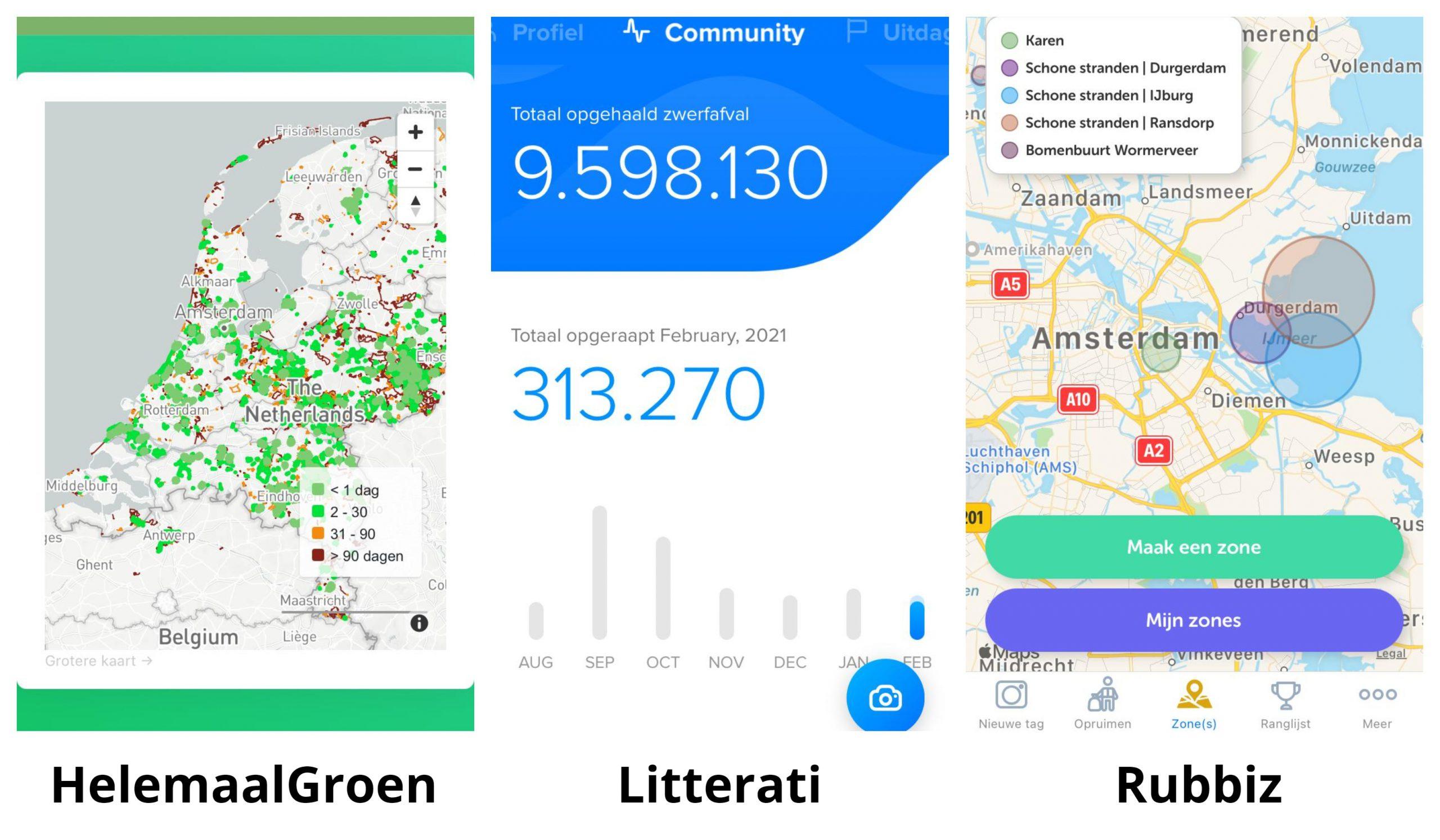 screenshot van drie zwerfafval apps